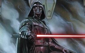 Обои star wars, darth vader, laser sword