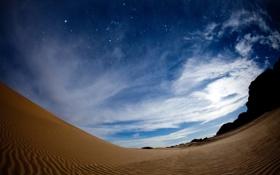 Обои небо, звезды, пустыня, созвездия, орион