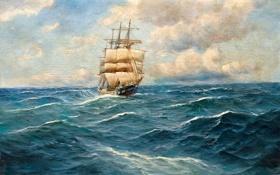 Картинка пейзаж, небо, Alfred Jansen, паруса, корабль, картина, море