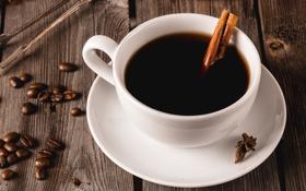 Обои кофе, зерна, чашка, корица, специи