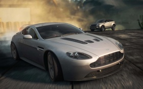 Картинка Aston Martin, гонка, пыль, автомобили, range rover, need for speed most wanted 2012