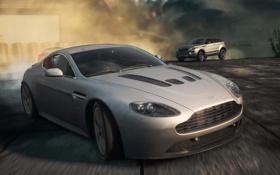 Обои Aston Martin, гонка, пыль, автомобили, range rover, need for speed most wanted 2012