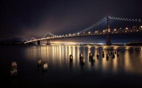 Картинка ночь, мост, город, огни, река, San Francisco