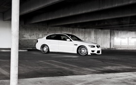 Обои белый, бмв, BMW, парковка, white, E90
