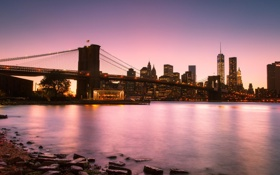 Обои мост, город, вечер, new york, manhattan, Brooklyn Bridge, east river