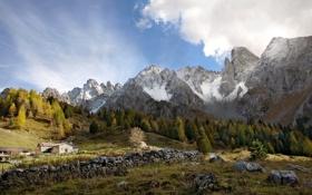 Картинка деревья, пейзаж, горы, природа, дом, камни