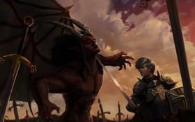 Обои крылья, меч, демон, воин, арт, рога, битва
