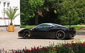 Картинка чёрный, wheels, ferrari, феррари, диски, black, вид сбоку