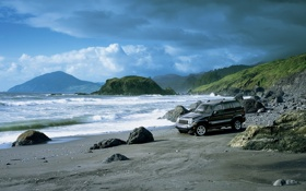 Картинка волны, небо, вода, природа, камни, берег, залив