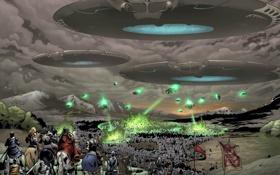Обои уничтожение, рыцари, армия, тарелки, вторжение, летающие, войска