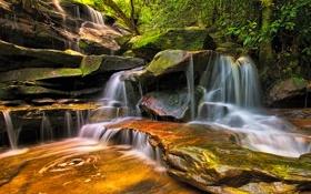 Картинка камни, водопад, Австралия, каскад, Australia, New South Wales, Somersby Falls