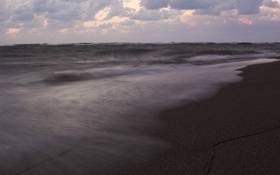 Картинка облака, небо, погода, вечер, волны, море, песок
