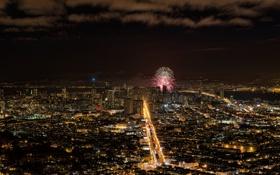 Картинка США, USA, Калифорния, здания, San Francisco, ночь, город