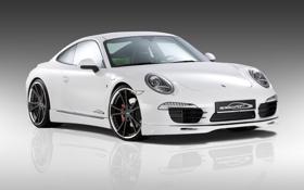 Картинка белый, отражение, фон, тюнинг, 911, Porsche, диски