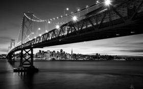 Картинка город, ч/б, Сан-Франциско, мост, Kenji Yamamura, photographer, огни