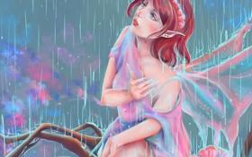 Обои взгляд, дождь, мокрая, фея, живопись, крылышки, Gabrielle Ragusi