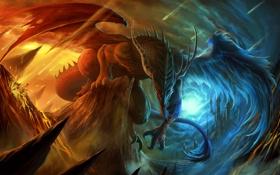 Картинка небо, облака, горы, скалы, огонь, дракон, крылья