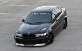 Картинка асфальт, Bmw, black car