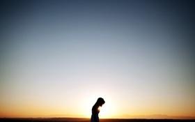 Картинка небо, девушка, настроение, минимализм