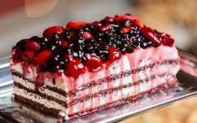 Картинка ягоды, клубника, торт, пирожное, cake, крем, десерт