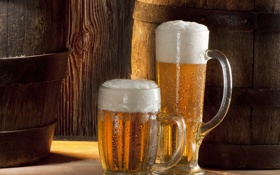 Картинка пена, пиво, стаканы, напиток, бочки, холодное пиво