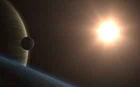 Обои космос, поверхность, звезда, планеты, спутник, желтая, яркая