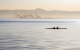 Картинка пейзаж, река, лодка