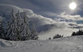 Картинка зима, небо, пейзаж, горы