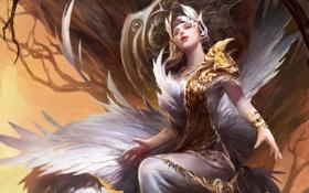 Картинка сидя, девушка, арт, крылья, фэнтези, перья