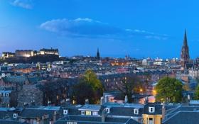 Обои огни, вечер, Шотландия, Великобритания, сумерки, Эдинбург