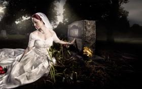 Обои девушка, скорбь, могила, надгробный камень