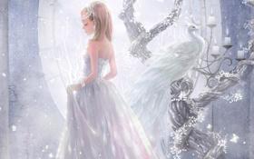 Картинка Девушка, свечи, браслет, белый павлин