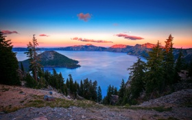 Обои горы, озеро, луна, кратор