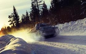 Обои зима, снег, закат, занос, арт, танк, танки