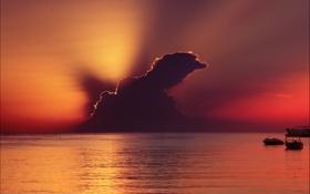 Обои море, закат, облако