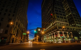 Обои Детройт, америка, дорога, фонари, ночь, улица