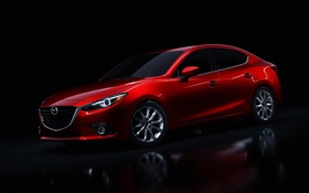 Обои черный фон, седан, красная, Mazda 3, мазда, Sedan