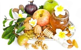 Картинка цветы, яблоко, мед, сладости, мёд, flowers, миндаль