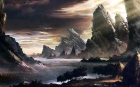 Картинка пейзаж, река, скалы, silviudinu, дома, хижины, арт
