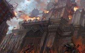 Обои замок, пожар, война, стены, штурм, армии, осада