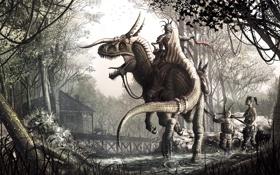 Картинка дом, динозавр, доспехи, Лес, шипы, рога, наездники