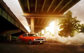 Обои солнце, мост, Chevrolet, red, шевроле, блик, красная