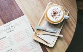 Обои стол, кофе, ложка, кафе, сахар, меню