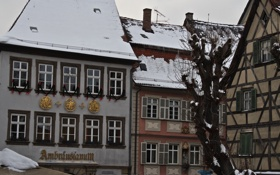 Обои зима, город, улица, дома, крыши, германия
