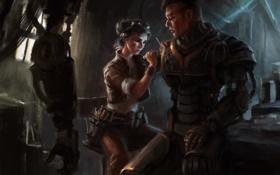 Картинка девушка, металл, робот, рука, механик, арт, парень