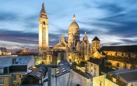 Картинка пейзаж, базилика Сакре-Кёр, Монмартр, дома, Париж, Франция