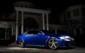 Картинка ночь, синий, дом, тень, Lexus, blue, лексус
