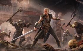Обои Доспехи, Свет, Меч, Оружие, DLC, Экипировка, Middle-Earth: Shadow of Mordor