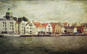 Картинка деревья, дома, лодки, канал