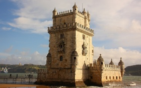 Картинка Tagus River, Belem Tower, Lisbon, река Тежу, Португалия, Portugal, Лиссабон